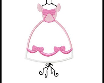 CINDERELLA PINK Dress Form embroidery applique fill design for quilts, clothing & more