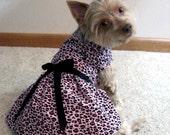 Pink Cheetah Dog Harness Dress