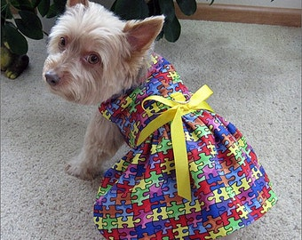 Dog Harness Dress with Jigsaw Puzzle Design