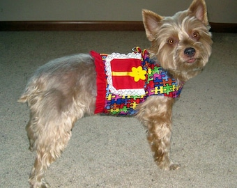 Dog Harness Vest with Primary Colors and Skirt