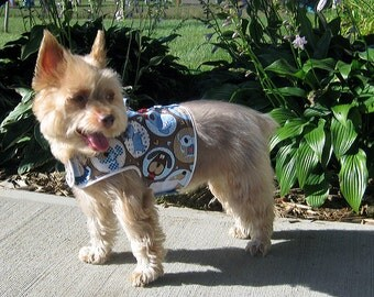Dog Harness Vest with Patchwork Pups Design