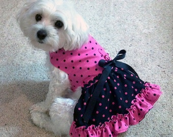 Pink & Black Dog Harness Dress with Contrasting Polka Dots and Ruffled Skirt