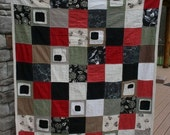 Modern linen charm patch quilt with neutral colors