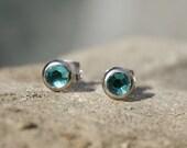 Swarovski Rhinestone Earring Studs Teal blue green