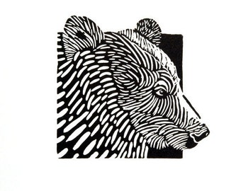 Linocut animals, bear, beer, hand printed wall art, matted, ready to frame, woodland animal