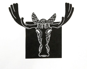 Linocut animals, moose, hand printed wall art, matted, ready to frame, woodland animal print