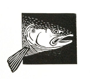 Linocut animals, salmon, zalm, hand printed wall art, matted, ready to frame