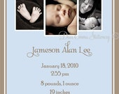 Jameson - Baby Announcement  - PRINTABLE  - I set text and pictures, YOU print - DIY New Baby Card