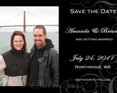 Elegance in Black and White - Printable Save the Dates with your picture - Photo Save the Date - DIY Bride