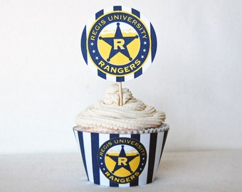 Graduation Celebration Cupcake topper and wrapper set Customized with your school logo and colors
