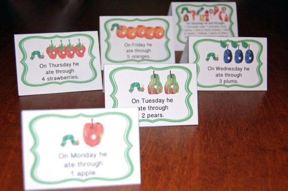 Items Similar To Very Hungry Caterpillar Tented Cards To