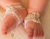 White Barefoot Sandals - Baby Barefoot Sandals - Barefoot Sandal - Baptism Shoes - Christening Baby Shoes - YASMINE