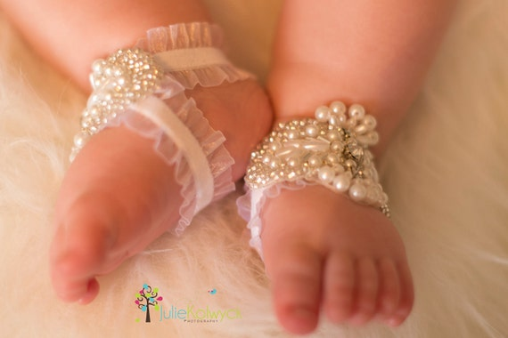 White Barefoot Sandals - Baby Barefoot Sandals - Barefoot Sandal - Baptism Shoes - Christening Baby Shoes - YASMINE