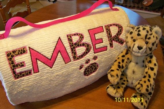 Custom Personalized Teen Size Chenille Sleeping Bag