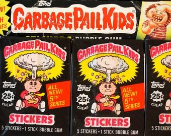 4 Garbage Pail Kids Sticker Packs 5th Series 1986