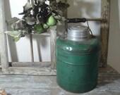 Primitive stoneware lined water milk jug wood handle zinc lid