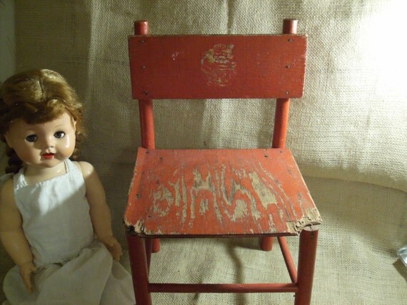 SALE Antique Primitive Childs Red Doll Chair Chippy Distressed