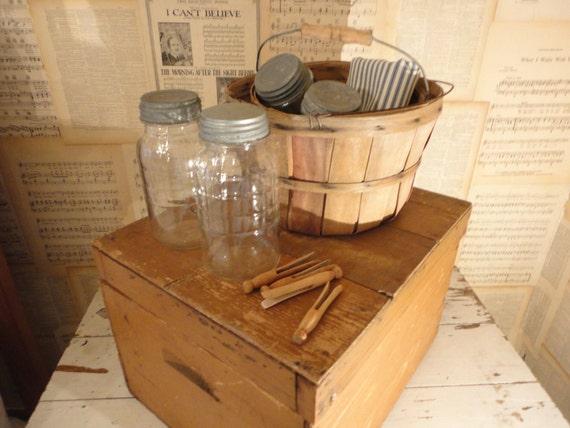 Farm Fresh Primitive Old Storage Box or Trunk