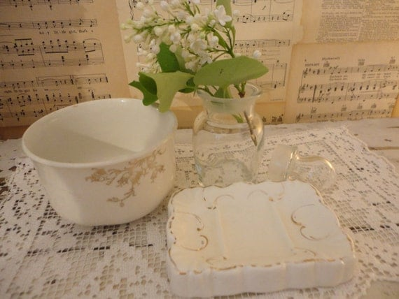 Antique White Ironstone Soap DIsh and Bowl so shabby chic