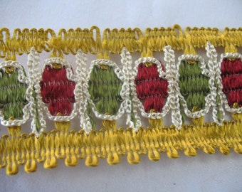 VINTAGE KNITTING ribbon in gold-red-green-white, very special.