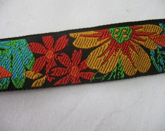 2 Yard VINTAGE MULTI FLOWERS  embroidered on black woven ribbon .