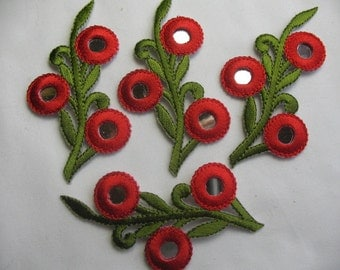 4 embroidered FLOWERS PATCH Iron On