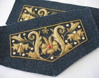 VINTAGE Denim Pocket Embroidered