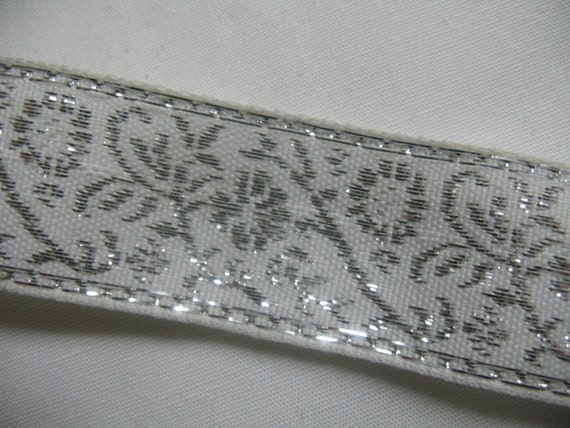 White embroidered ribbon with silver flowers