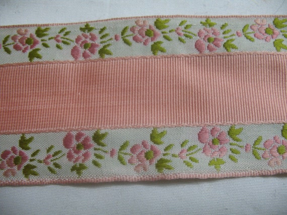 VINTAGE PINK and WHITE adge embroidered with fowers in pink and green - fantastic.