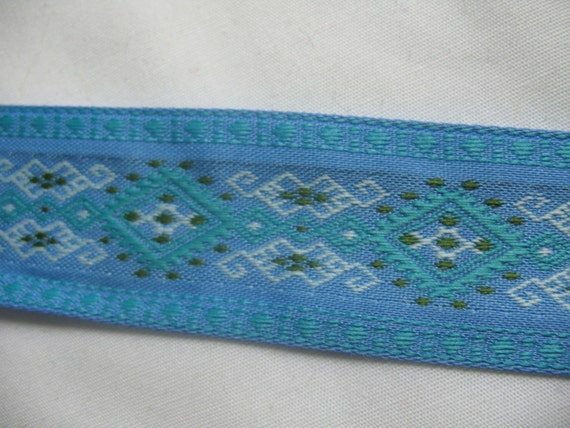 Geometric woven aztec blue ribbon trim lace - 2 yard