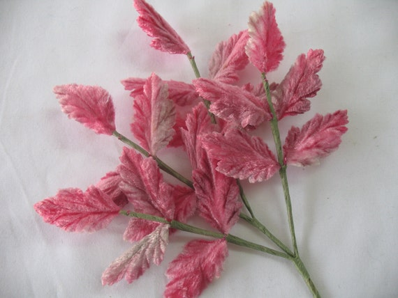 VINTAGE GERMAN bouquet of  velvet leaves in pink.