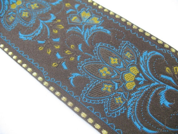 Vintage Embroidered Ribbon Floral in Brown, Bright Blue and Gold