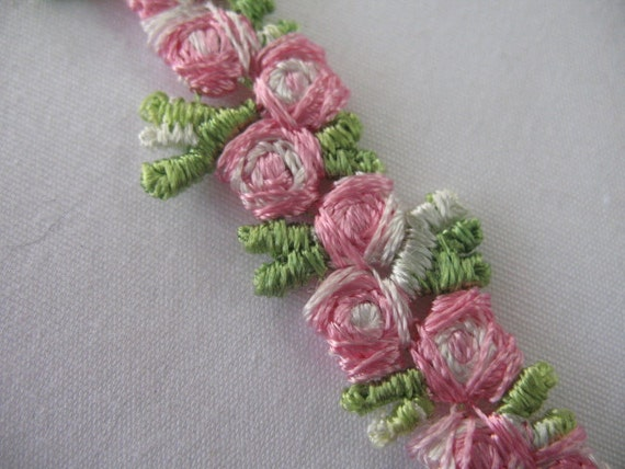 VINTAGE  FLOWERS RIBBON -  Pink