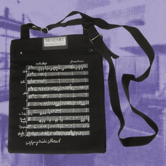 Music Shoulder Bag, silver ink