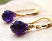 Sale Petite Purple Amethyst Gold Earrings. Natural Gemstones