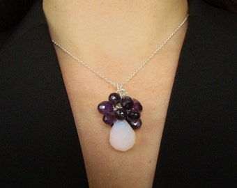 Luxury Moonstone Amethyst Sterling Necklace