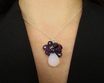 Sale 40% off Necklace Opaline Moonstone Amethyst