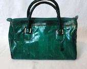 SALE  ---Emerald Green Eel Skin Leather Purse / Handbag