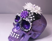 METALLIC PURPLE  Day Of The Dead Sugar Skull Or Altar Skull