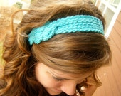 Knotted Crocheted Headband: Electric Blue