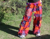 custom made patchwork pants, ooak,funky trunx, hippy pants