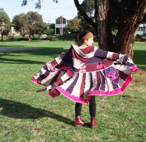 ON SALE...WAS 285..... bUbbLe GuM aNd BuTtErFLieS..earth friendly elf coat, upcycled sweater coat, hoodie,