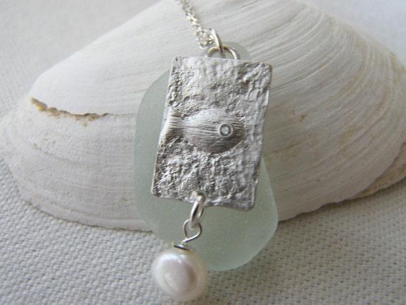 Scottish Sea Glass Necklace, Eco Friendly, Eco Chic, Nautical, Silver Fish Charm