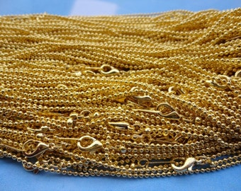 100pcs 1.5mm 17 inch shiny gold plated ball chain necklace with lobster clasp