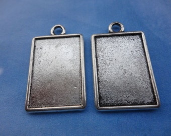 10pcs 25x18mm antiqued silver photo frame charms