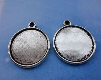 25pcs 25mm silver plated round shape photo frame charms
