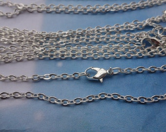 15pcs 2x3mm 18 inch silver plated chain necklace with lobster clasp