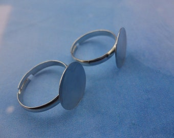 100pcs Adjustable Silver Ring Blanks Round Shape 15mm