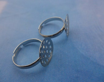 50pcs Adjustable Silver Ring Blanks Round Shape 15mm