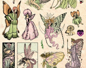 FAIRY RUBBER STAMPS Fantasy Art Fairies Set For Card Making Crafts Supplies